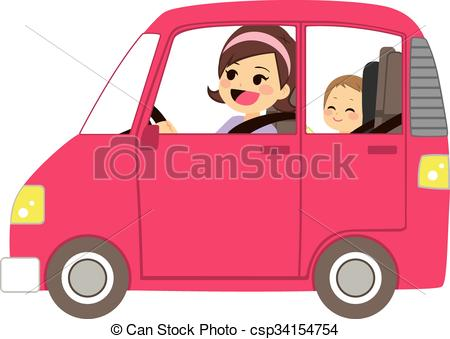 Mom Driving Car With Baby - c - Driving Clipart