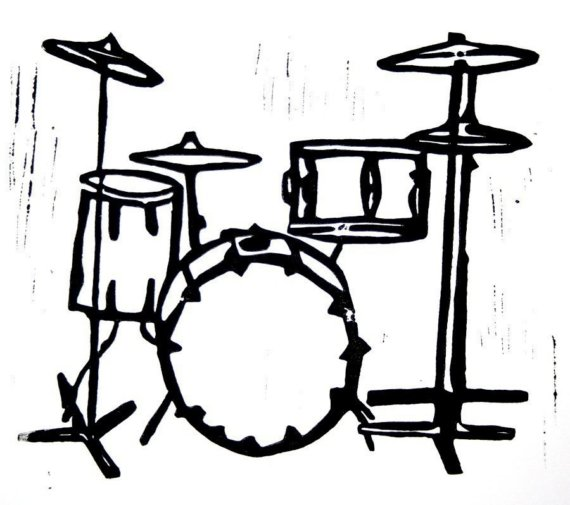 drum set clipart black and white
