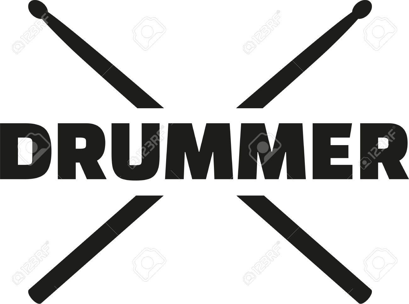 Drum sticks with word drummer Stock Vector - 46603633