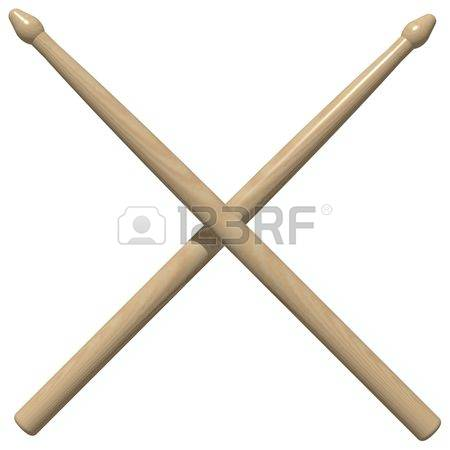 Perfect crossed drum sticks isolated on white