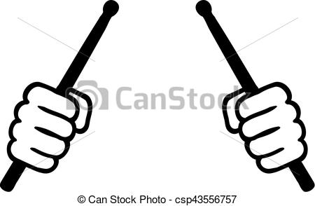 Two hands with drum sticks - csp43556757