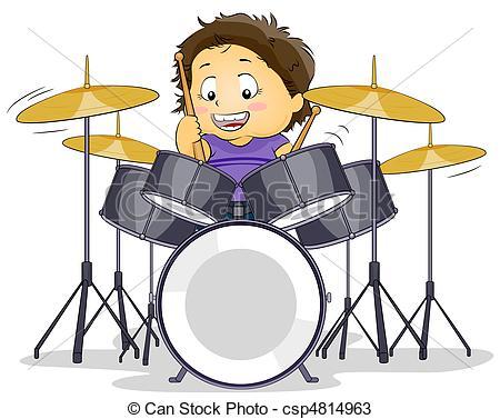 ... Drummer - Illustration Of A Kid Play-... Drummer - Illustration of a Kid Playing with a Drumset-9
