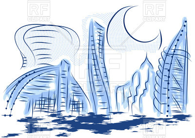 Dubai Cityscape - Abstract Modern City W-Dubai cityscape - abstract modern city with skyscrapers, 44925, download  royalty-free vector ClipartLook.com -7