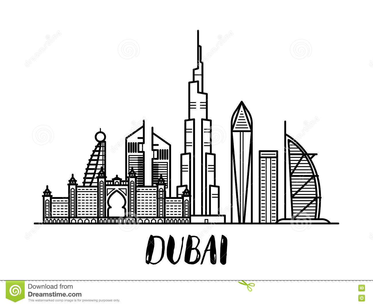 Dubai Landscape Line Art Illustration Wi-Dubai landscape line art illustration with modern lettering. Famous  landmark with modern lettering Royalty Free-13