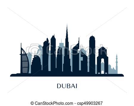 Dubai Skyline, Monochrome Silhouette. - -Dubai skyline, monochrome silhouette. - csp49903267-15