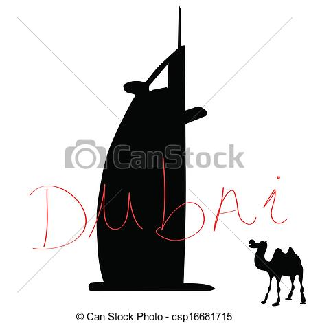 Dubai With Camel Color Vector Illustrati-Dubai With Camel Color Vector Illustration-17