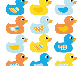 Duck Clip Art In Blue, Yellow And Orange-Duck Clip Art in Blue, Yellow and Orange - INSTANT DOWNLOAD - Baby shower clipart rubber ducky-1