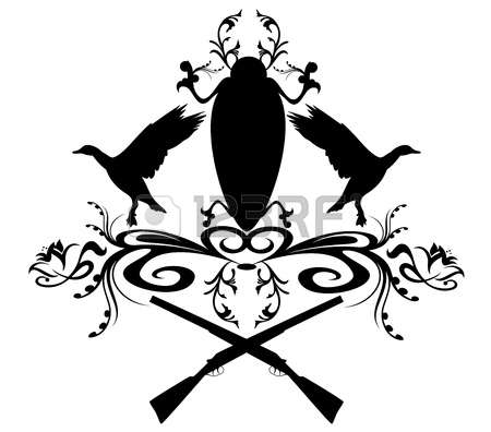 duck hunting: vector hunting emblem with flying ducks and floral decoration Illustration