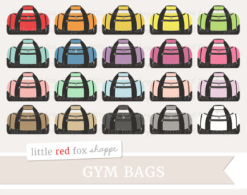 Gym Bag Clipart; Fitness, Work Out, Exercise, Duffel Bag