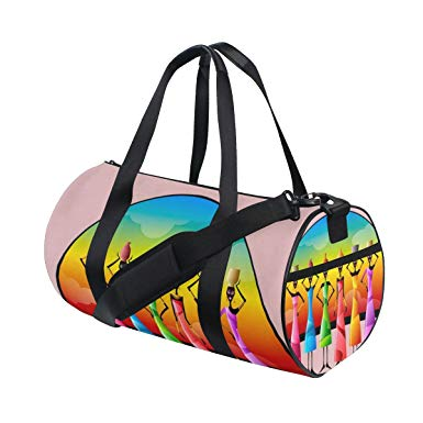 JSTEL African Clipart Pattern Sports Gym Bag for Women and Men Travel Duffel  Bag