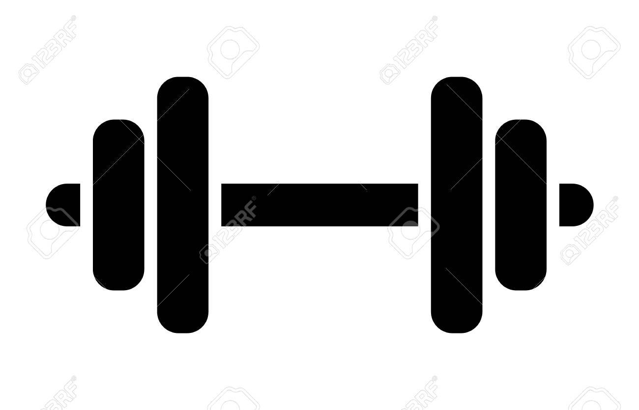 Dumbbell or dumbells weight training equipment flat vector icon for  exercise apps and websites Stock Vector