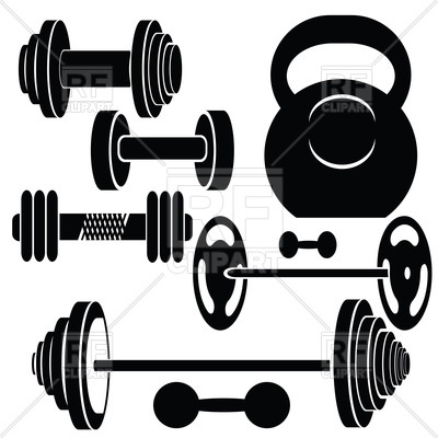 Silhouettes of barbells and dumbbells, 47312, download royalty-free vector  vector image ClipartLook.com