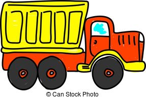 ... dump truck isolated on white drawn in toddler art style