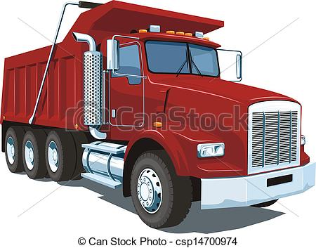 ... Dump truck - Vector isolated red dump truck on white.