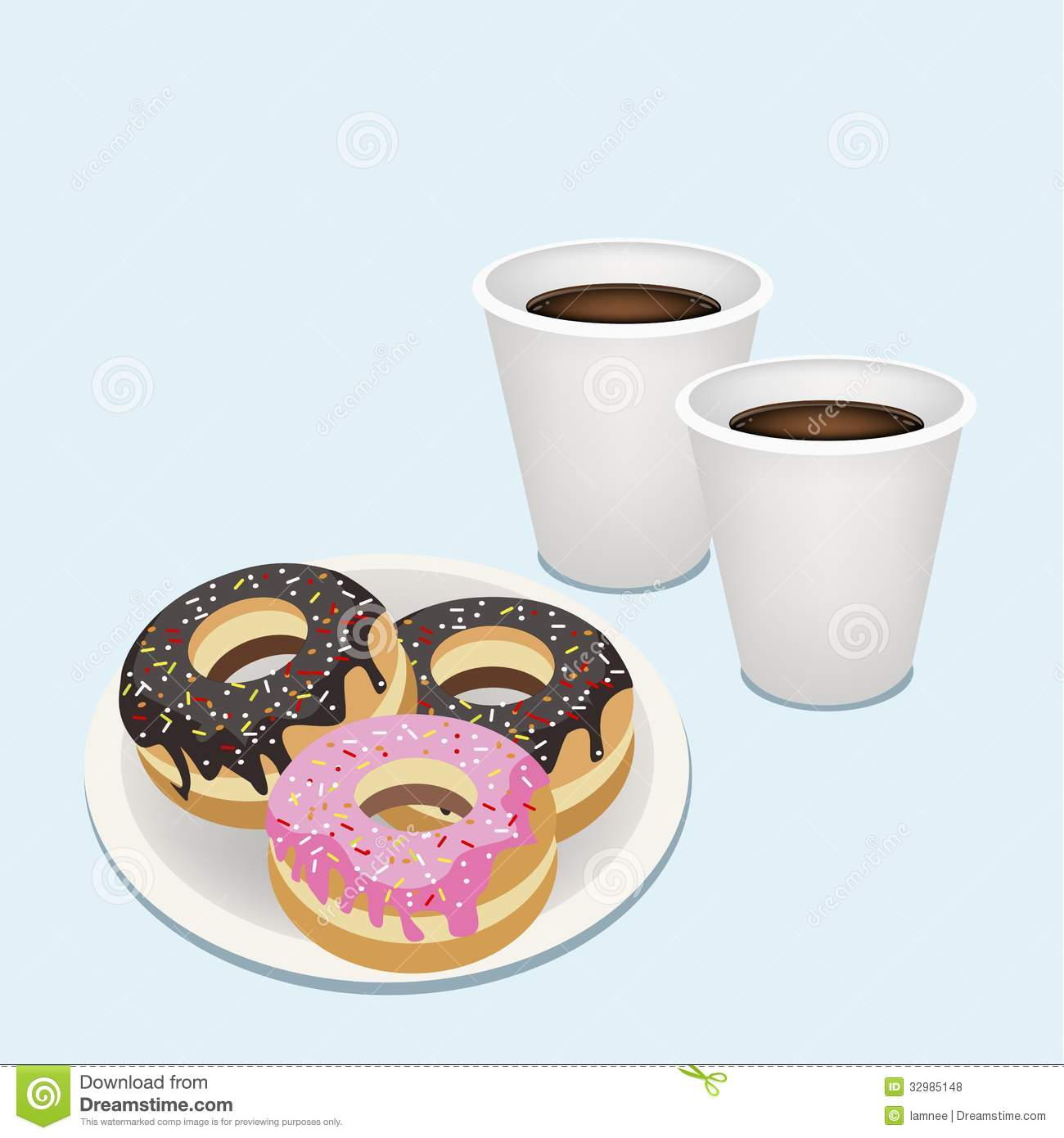 Dunkin Donuts Clip Art. A Hot Coffee in Disposable Cup .