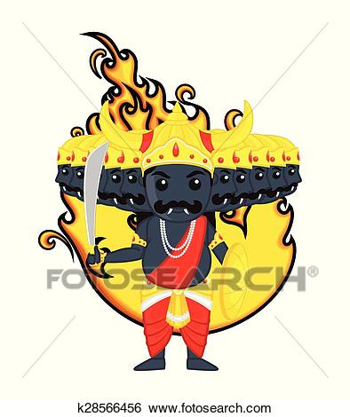Clip Art - Happy Dussehra - Cartoon Ravan. Fotosearch - Search Clipart,  Illustration Posters