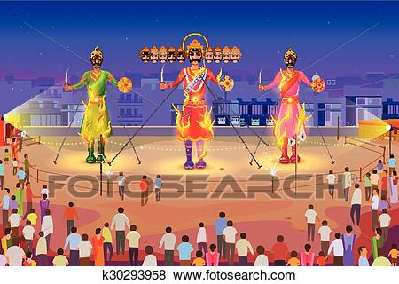 Clip Art - Ravana burning in  - Dussehra Clipart