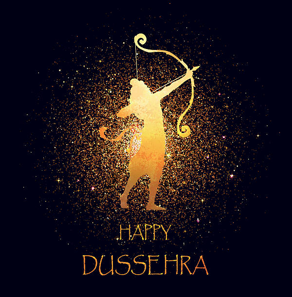 Gold Lord Rama, Happy Dussehra celebration card. vector art illustration