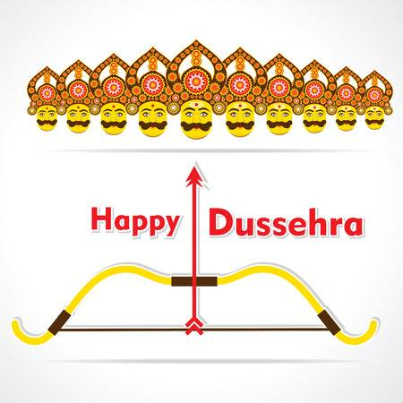 happy dussehra greeting card design vector