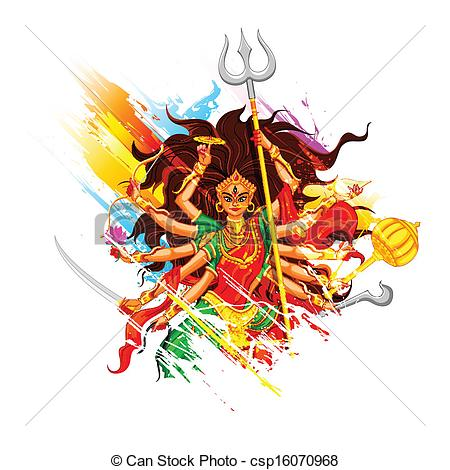 Happy Dussehra with goddess D - Dussehra Clipart