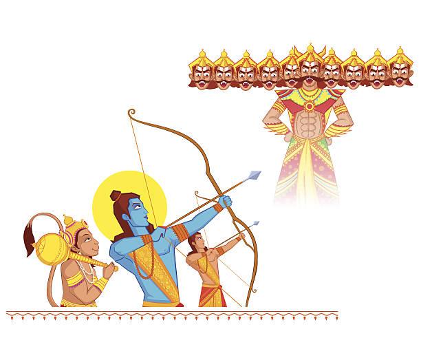 Rama killing Ravana during Dussehra vector art illustration