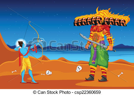 Rama killing Ravana in Dussehra - csp223-Rama killing Ravana in Dussehra - csp22360659-6