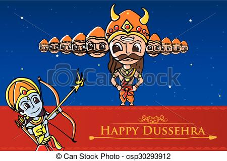 Rama killing Ravana in Happy  - Dussehra Clipart