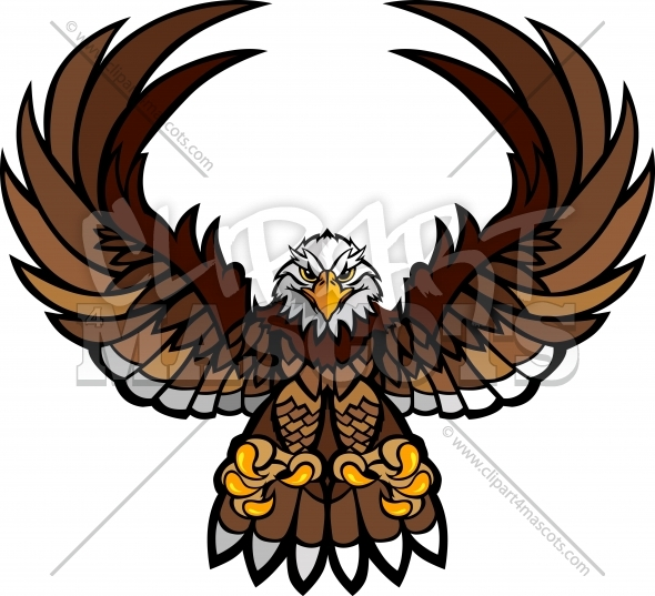 Eagle Mascot Clipart With Spread Wings A-Eagle Mascot Clipart with Spread Wings and Claws Vector Image-12