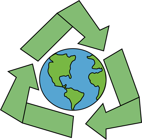 Earth With Recycle Symbol Clip Art Image Earth With A Green Recycle