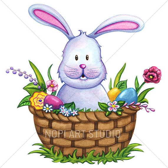 Easter Basket Bunny Clipart-C - Easter Basket Bunny Clipart
