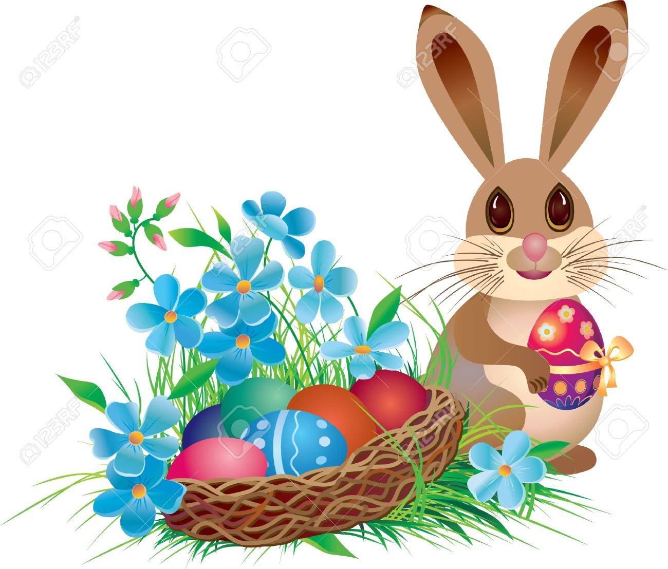 Easter basket and rabbit with - Easter Basket Bunny Clipart