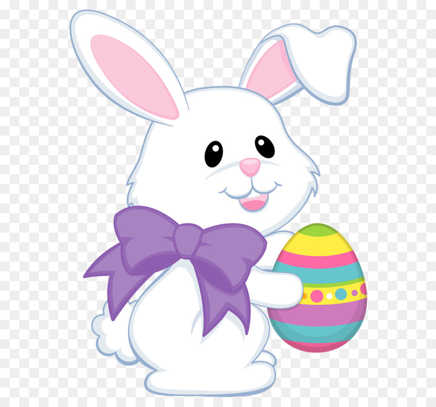 Easter Bunny Easter egg Easter basket Clip art - Easter Cute Bunny with  Purple Bow Transparent PNG Clipart