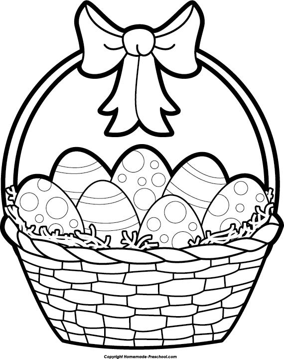 Easter Basket Clipart Black and White