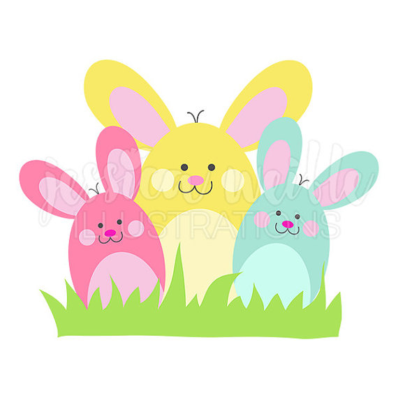 Bunny Bunch Cute Digital Clipart, Easter Bunny Clip art, Easter Graphics, Bunny  Rabbit Illustration, #1596