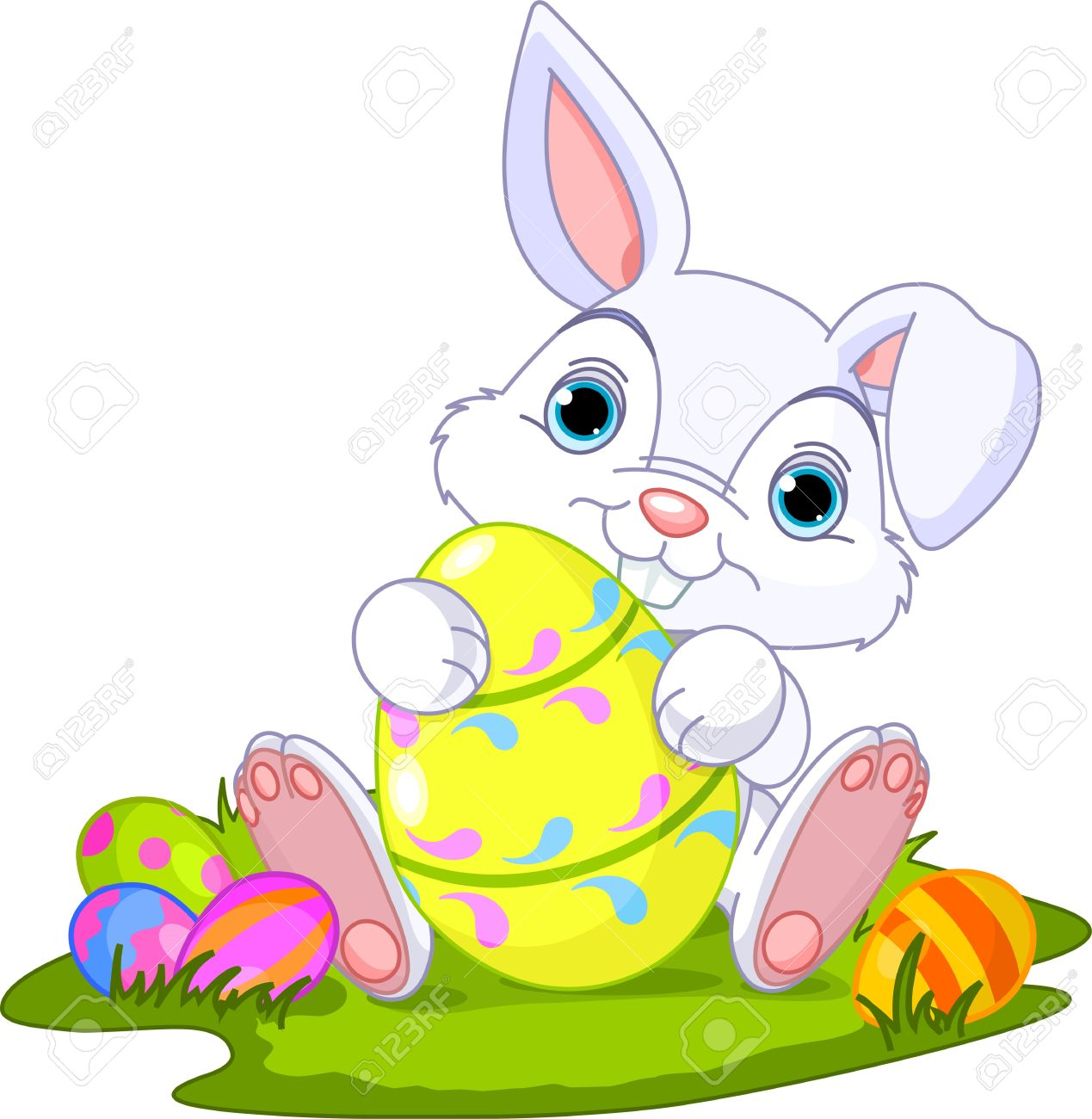 Cute Easter Bunny holding Easter Egg Stock Vector - 12807313