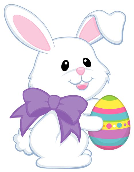 Easter Cute Bunny with Purple Bow Transparent PNG Clipart