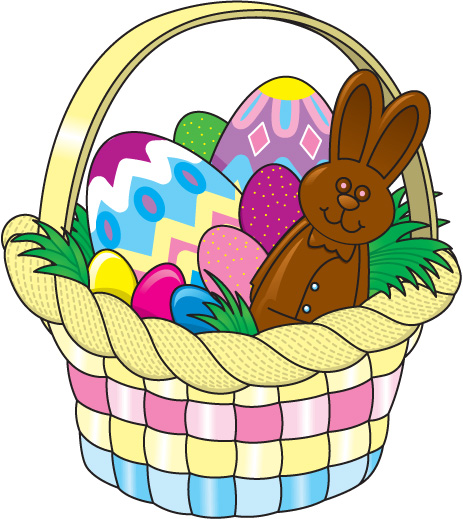 Easter Egg Basket Clipart .