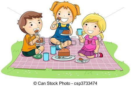 ... Eating Cake - Children eating Cake i-... Eating Cake - Children eating Cake in the Park with Clipping.-12
