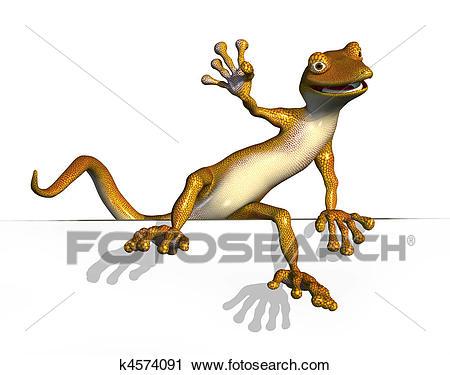 3D render of a cartoon gecko climbing onto an edge.