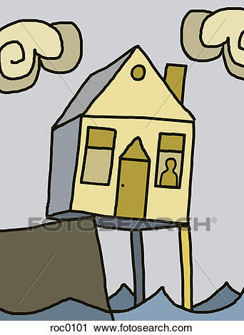 A House On The Edge Of A Cliff Being Hel-A house on the edge of a cliff being held up on a stilt over the water-3