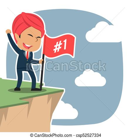 Indian businessman standing with flag on cliff edge - csp52527334
