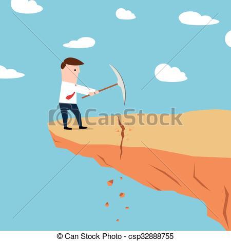Man on a cliff edge digging g - Edge Clipart