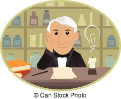 ... Edison - Cartoon Thomas Edison Is Si-... Edison - Cartoon Thomas Edison is sitting behind his desk.-3