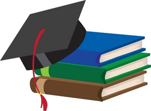 Education Clipart Image: Graduation Cap on a Stack of Textbooks