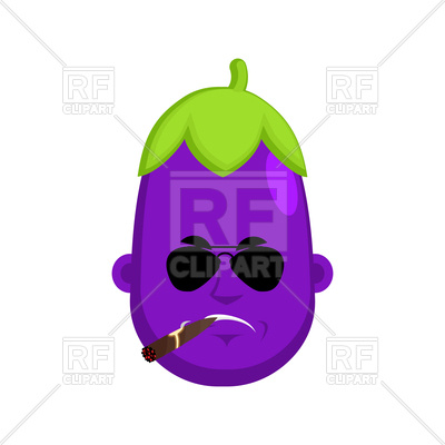 Cartoon serious eggplant with cigar, 187224, download royalty-free vector  vector image ClipartLook.com