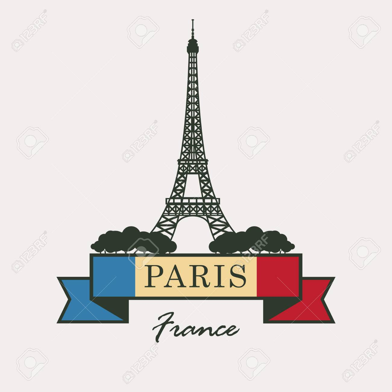 banner with Paris, Eiffel Tower against the French flag Stock Vector -  57655344