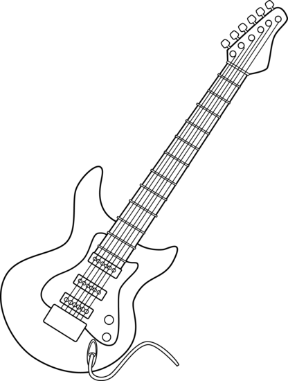 Electric Guitar Line Clipart # .