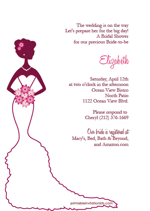 Elegant Bride Bridal Shower I - Bridal Shower Clipart