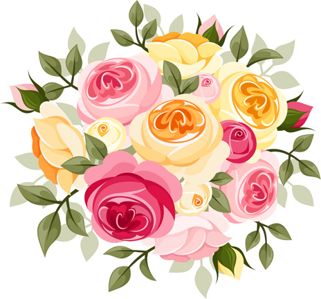 elegant flowers bouquet vector