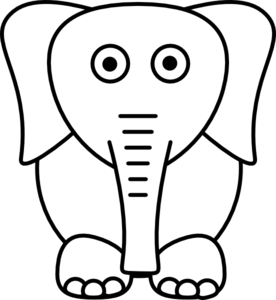 elephant clipart black and wh